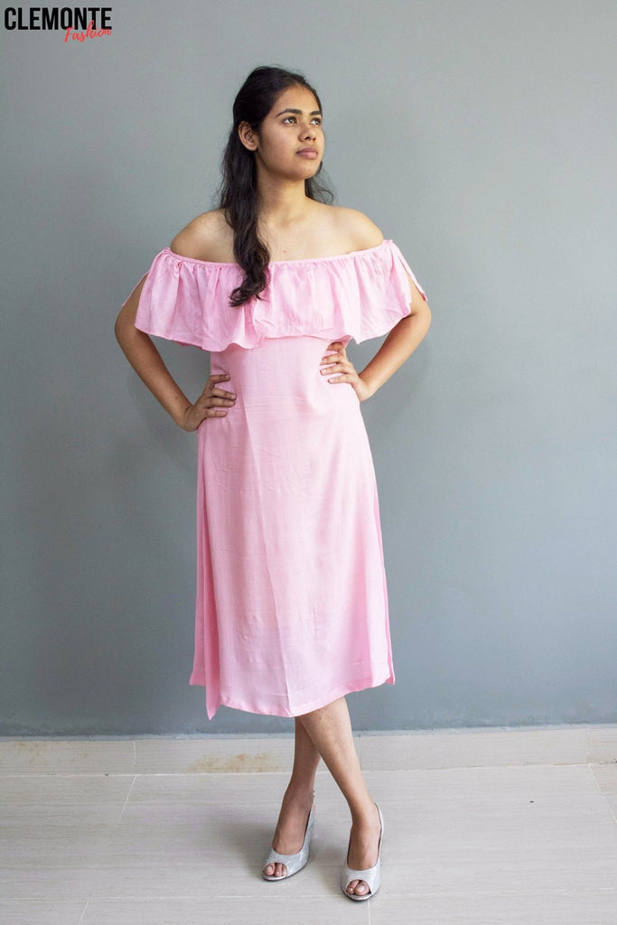 Clemonte Hello Sunshine pink blush Off-the-Shoulder Dress
