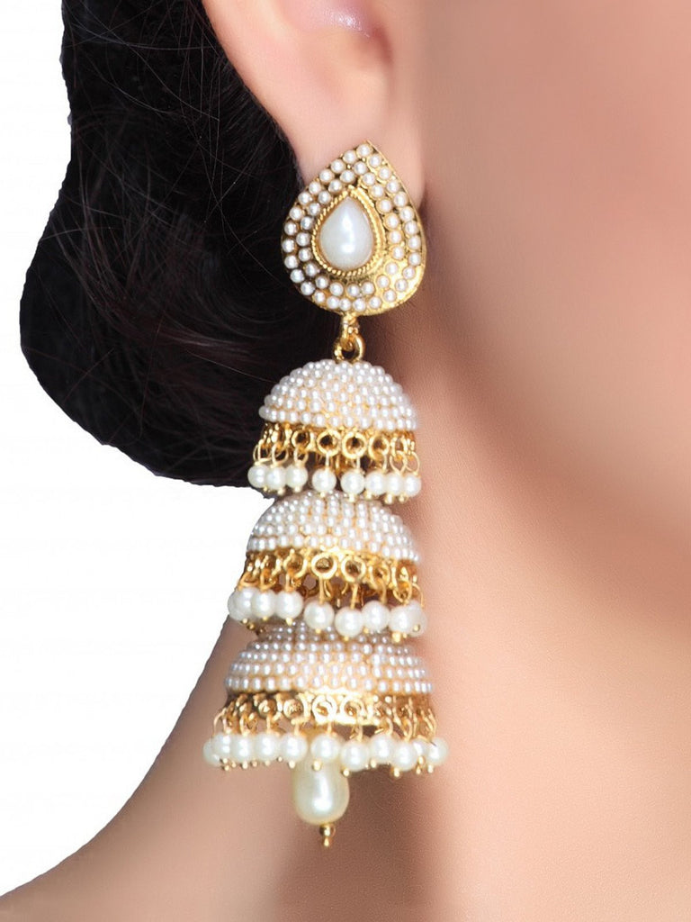 Clemonte Viraasat Jewels -Triple Jhumki Earrings