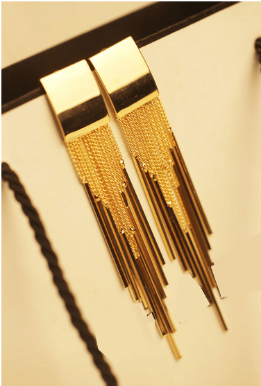 Gold Plated Long tassel earrings by Clemonte Myrah Jewels