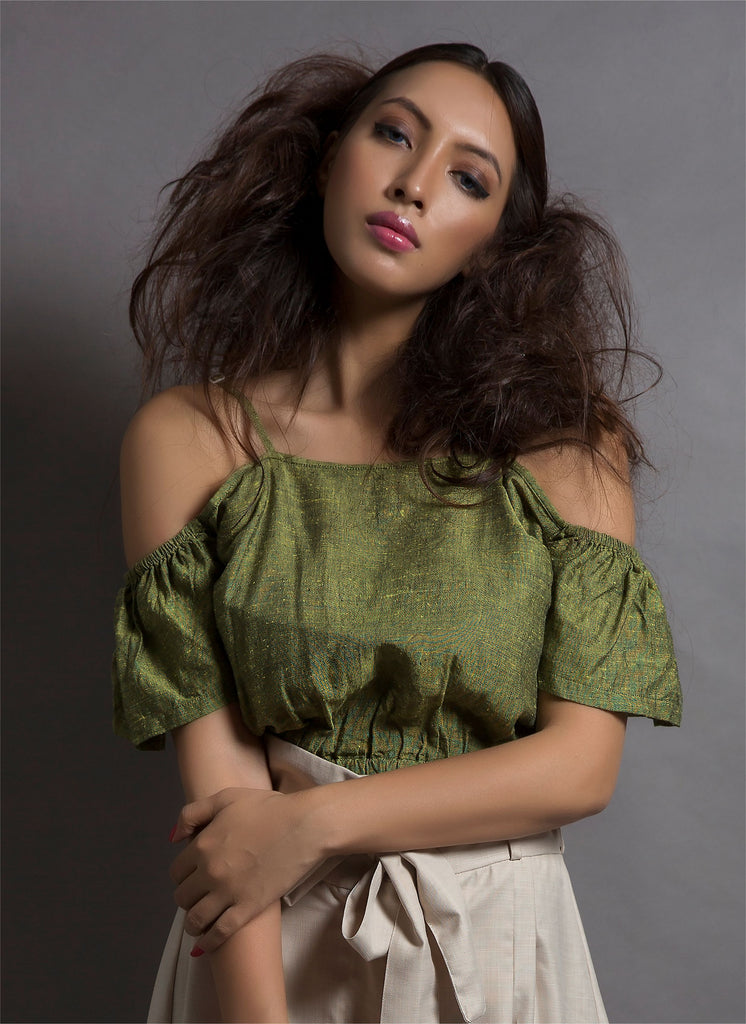 Midnight Owl xClemonte Olive Green strappy crop top