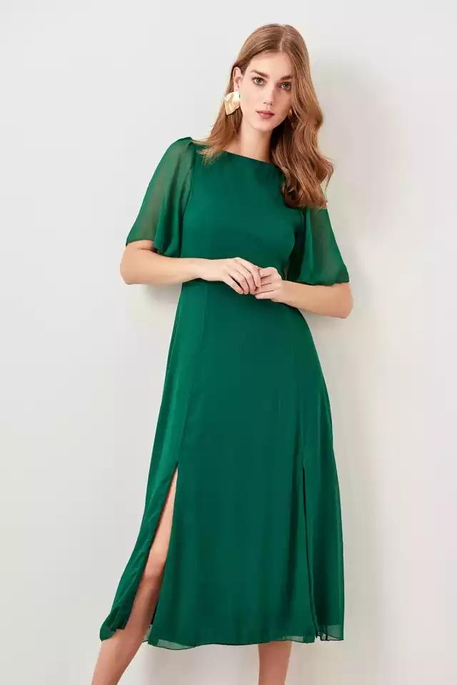 3208d7081 Clemonte Emerald green chiffon midi dress