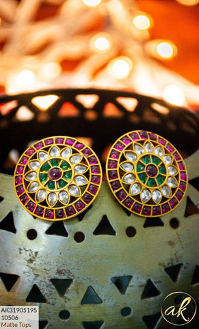 Clemonte India Jewels - Gold Plated GLASS FLOWER EAR STUDS