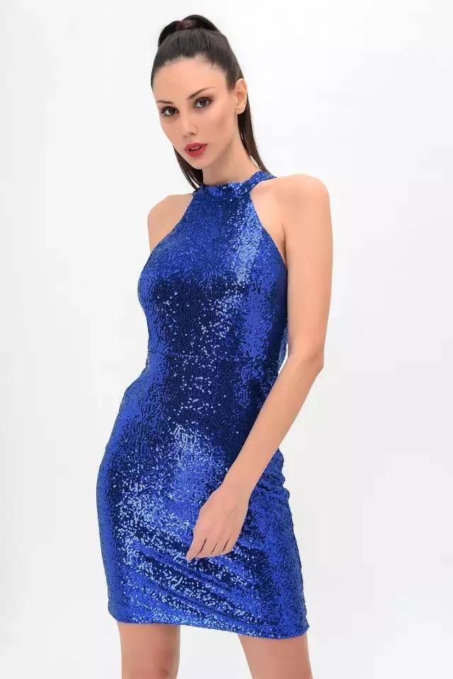 Clemonte sequinned mini dress - Electric Blue