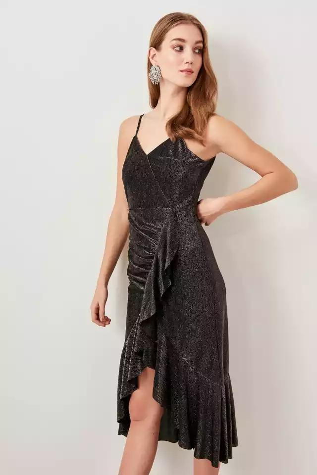 Clemonte Adele Gray shimmer wrap dress