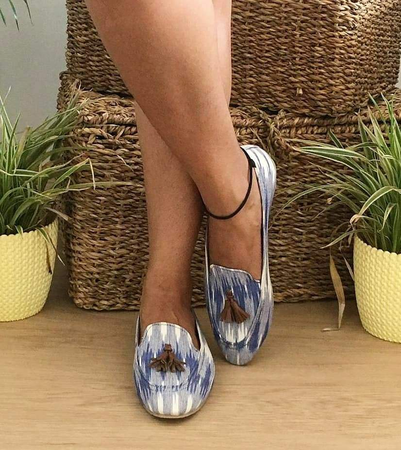 CLEMONTE x SAAHI : Blue ikat Loafers : The Denim flavour