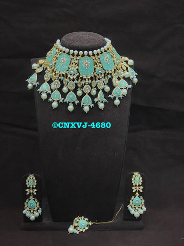 Clemonte India Jewels - Pastel blue  meenakari Jewellery set