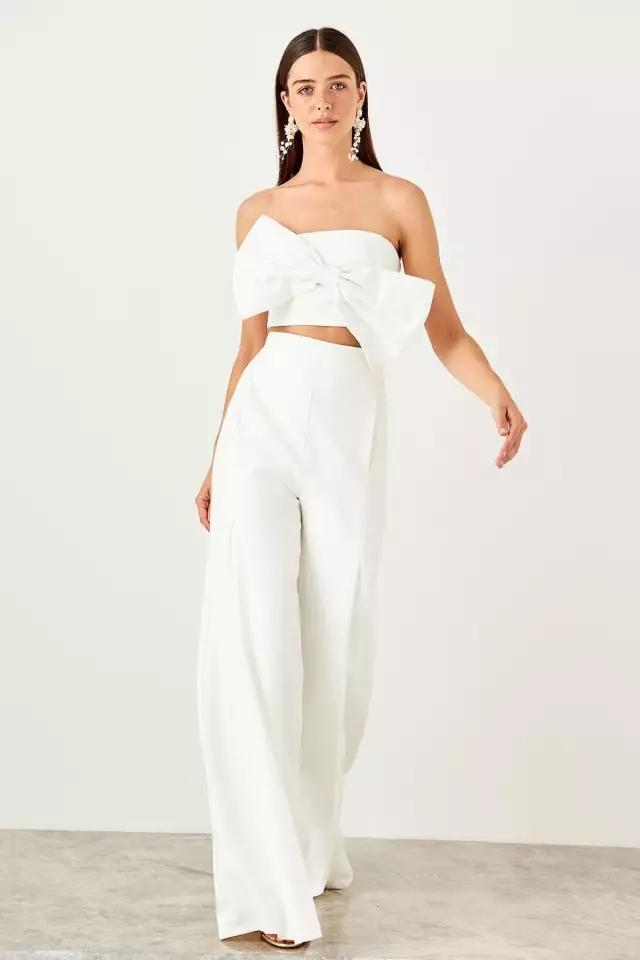 Clemonte Bow Detail white Co-ords set  - crop top with pants