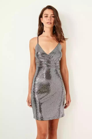 Clemonte  Kia Silver sequinned halter dress