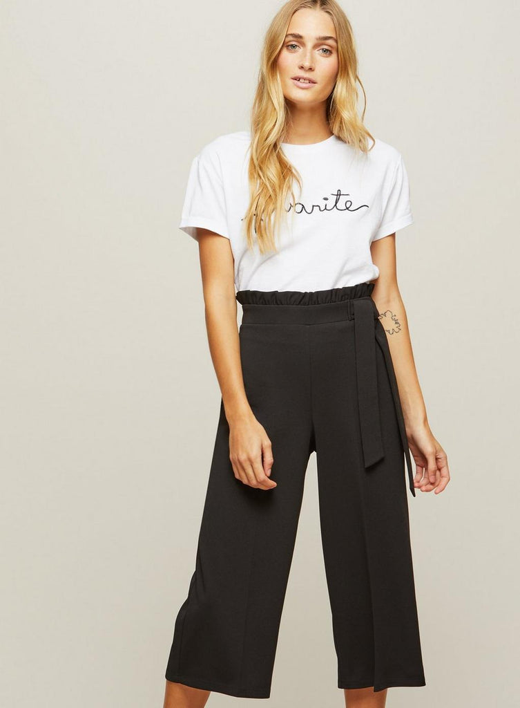 Clemonte Black Ruffle Cropped Trousers