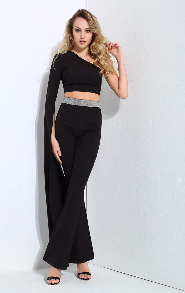 Clemonte black one shoulder cape sleeve co-ord set