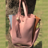 Clemonte blush tassel leather tote bag