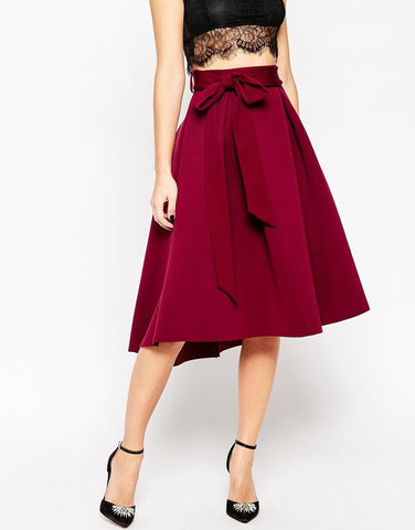Clemonte berry red overlap crepe skirt