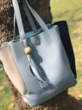 Clemonte pastel blue blue tassel leather tote bag