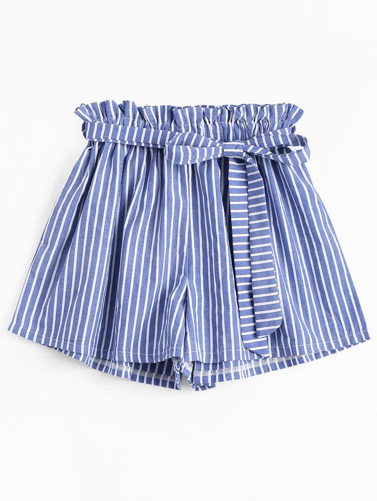 Clemonte High waist striped shorts - Blue