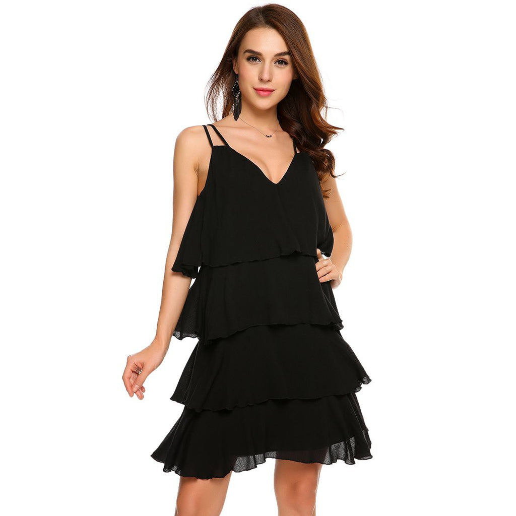 Clemonte Black tiered ruffle dress