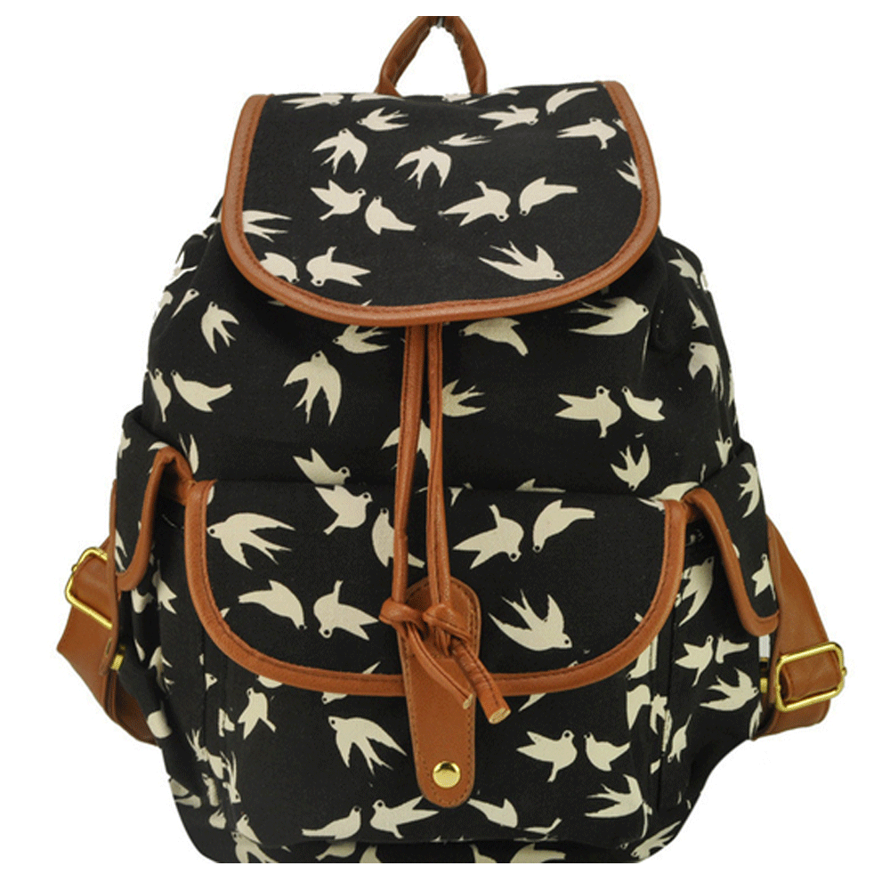 Clemonte Flying birds Printed canvas shoulder backpack - Black