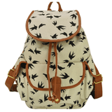 Clemonte Flying birds Printed canvas shoulder backpack - White