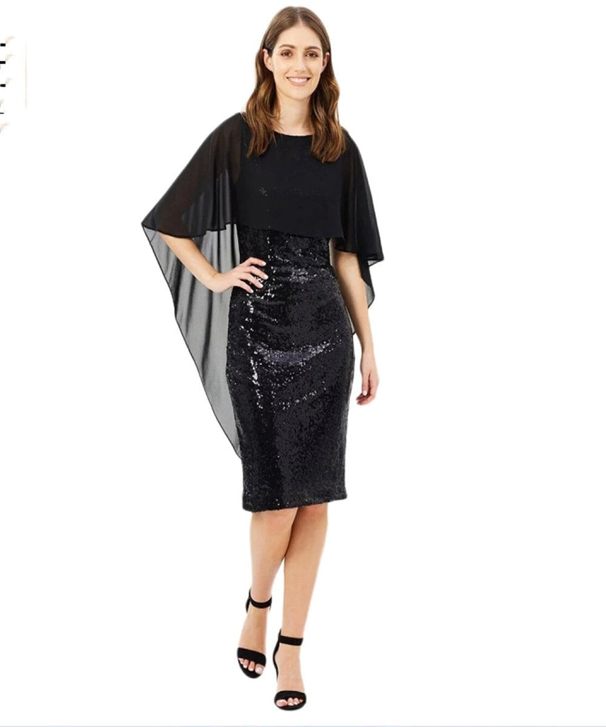 Clemonte Black  cape Sequin midi dress