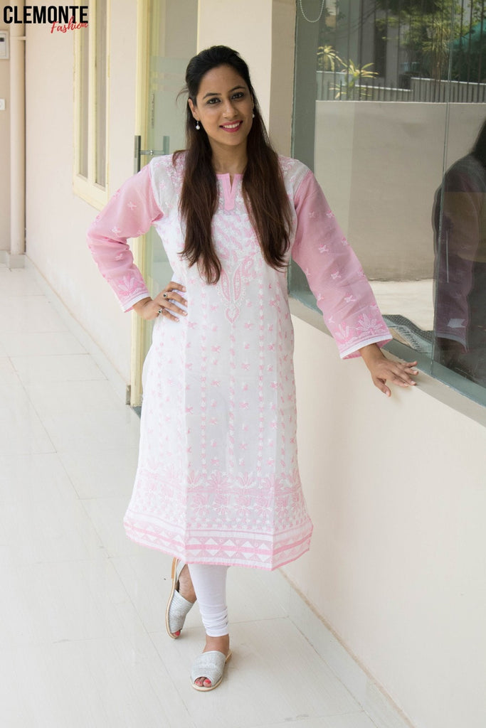 Clemonte hand embroidered cotton  lucknow chikankari kurta - white with pink thread work