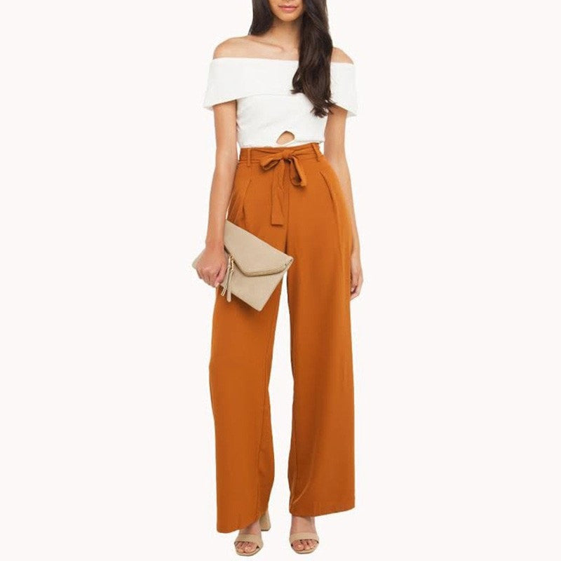 Clemonte High waist wide leg trousers -  brown