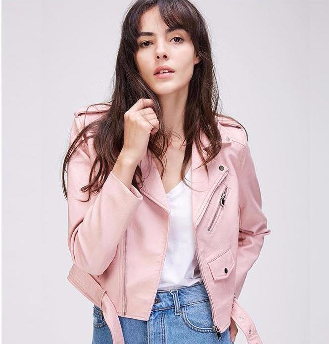 Clemonte Leather Moto Jacket - Blush pink