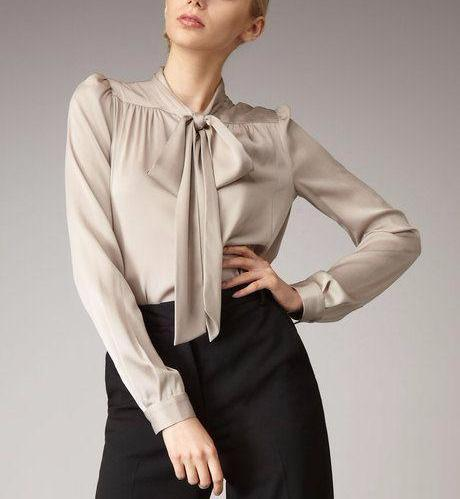 Clemonte satin beige pussy bow tie blouse