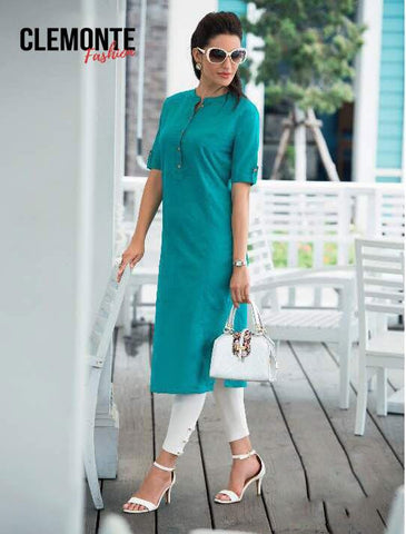 Clemonte Straight Kurta with Mandarin Collar - Teal