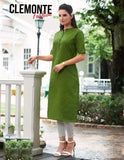 Clemonte Straight Kurta with Mandarin Collar - Green