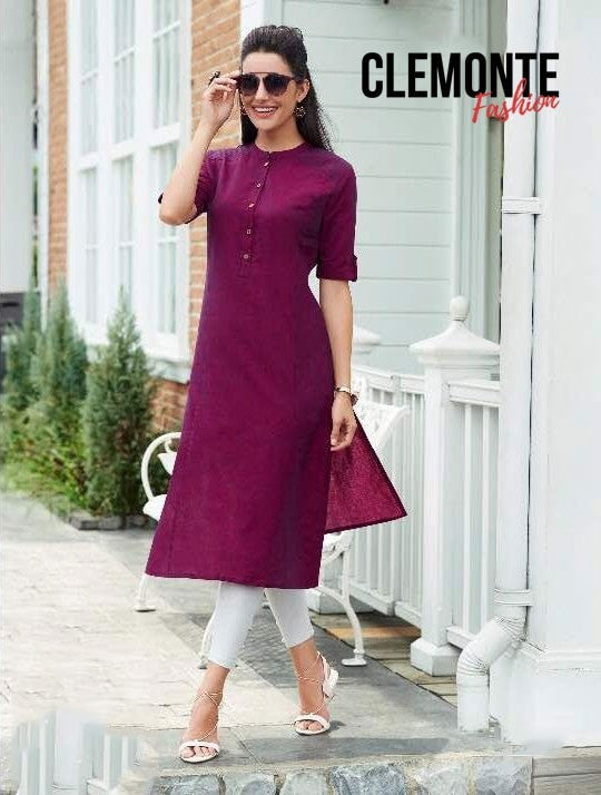 Clemonte Straight Kurta with Mandarin Collar - Purple