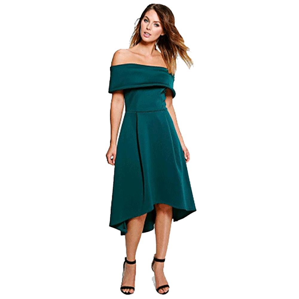 Clemonte Abigail off shoulder emerald green skater dress