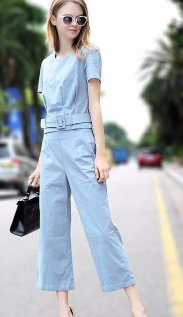 Clemonte Women Pastel blue Monochrome Two piece set top and pants