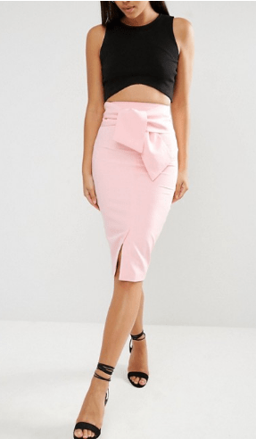 Clemonte pastel pink Tie Detail Pencil Skirt