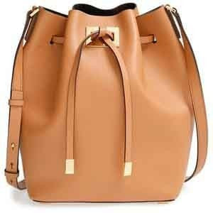 Clemonte Leather-lined suede bucket bag - Tan