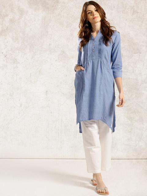 Clemonte Women blue Solid A-Line Chambray Kurta