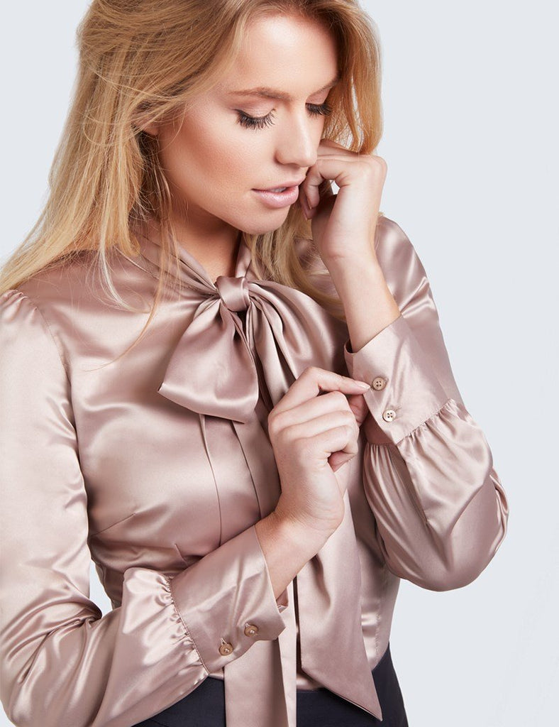 Clemonte Mauve luxury satin silk blouse