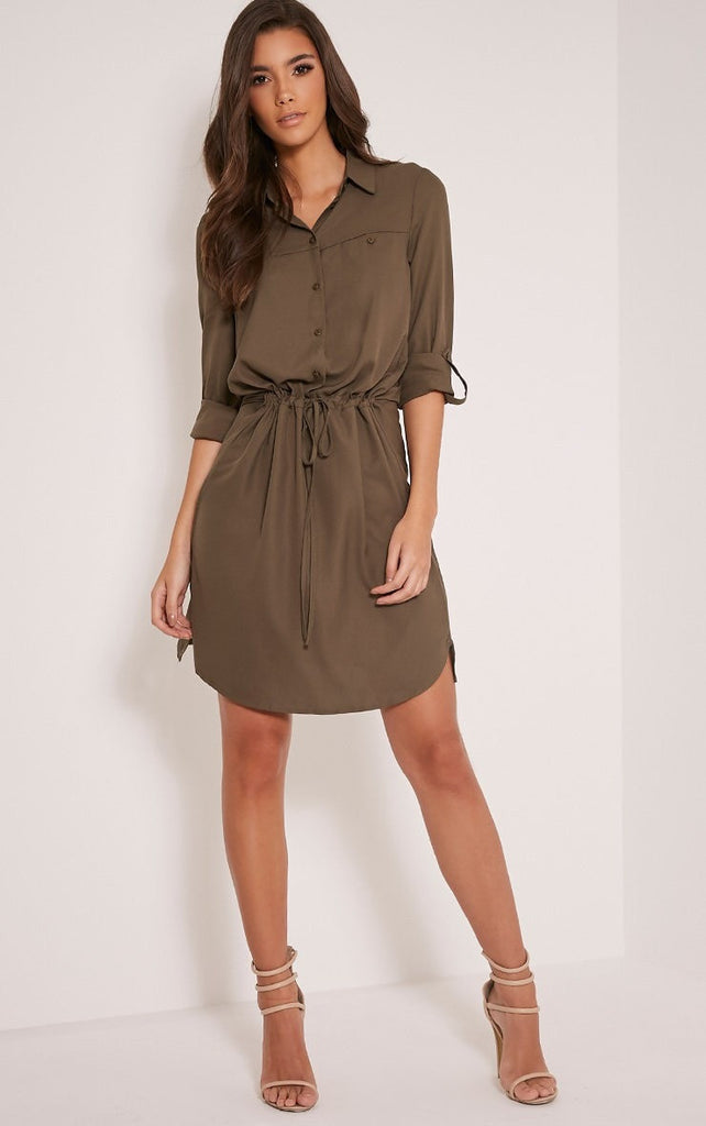 Clemonte Khaki Tie Waist Shirt Dress