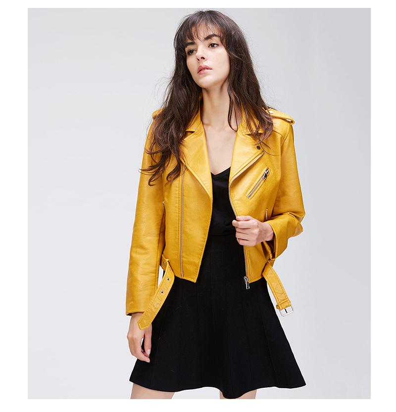 Clemonte Leather Moto Jacket - Pop yellow