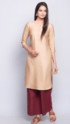67dec0c8ce087c Add to Wishlist. Clemonte utsav collection   Golden silk long kurta for  women