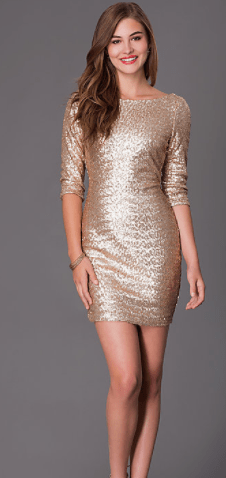 Clemonte High Neck Sequin Dress - Matte Gold
