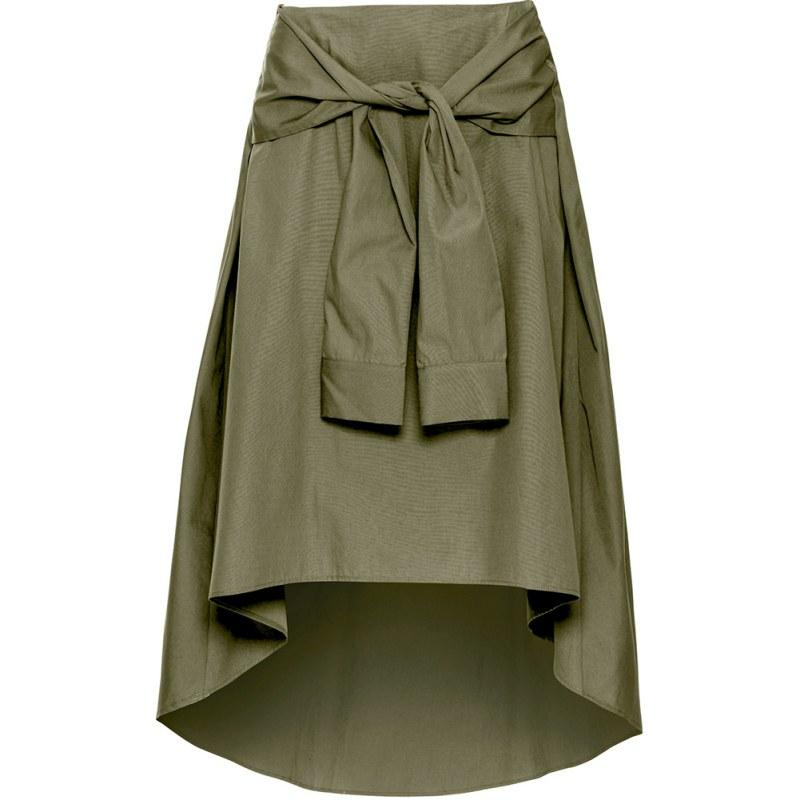 Clemonte olive knotted midi skirt