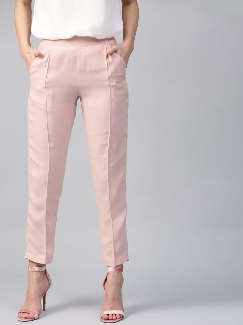 Clemonte Women Pink Regular Fit Solid Cigarette Trousers