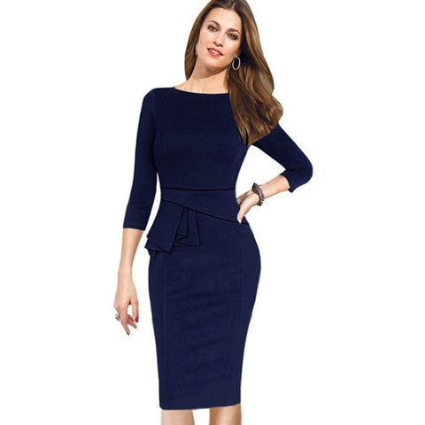 Clemonte Dark blue Pencil Bodycon Female peplum workwear Dress