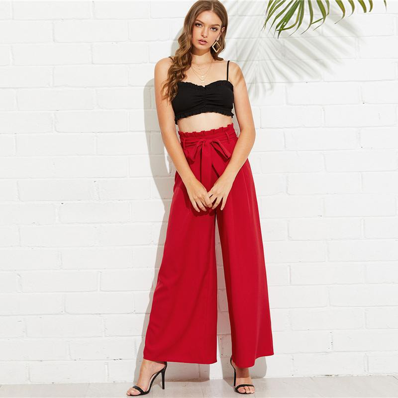 Clemonte red self tie high waist pants