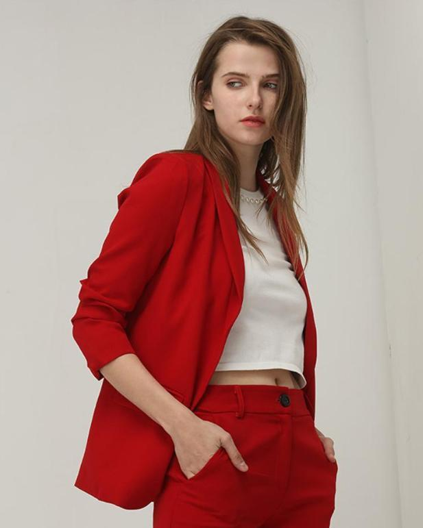 Clemonte Alyssa Red Co-ords set  - Blazer with pants