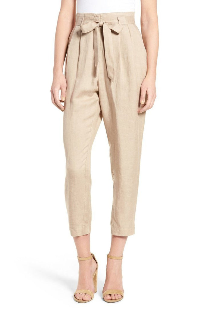 Clemonte taupe High Waist Crop Pants