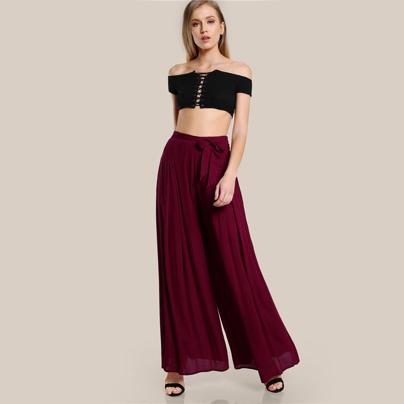 Clemonte High waist wide leg palazzo pants - Berry red
