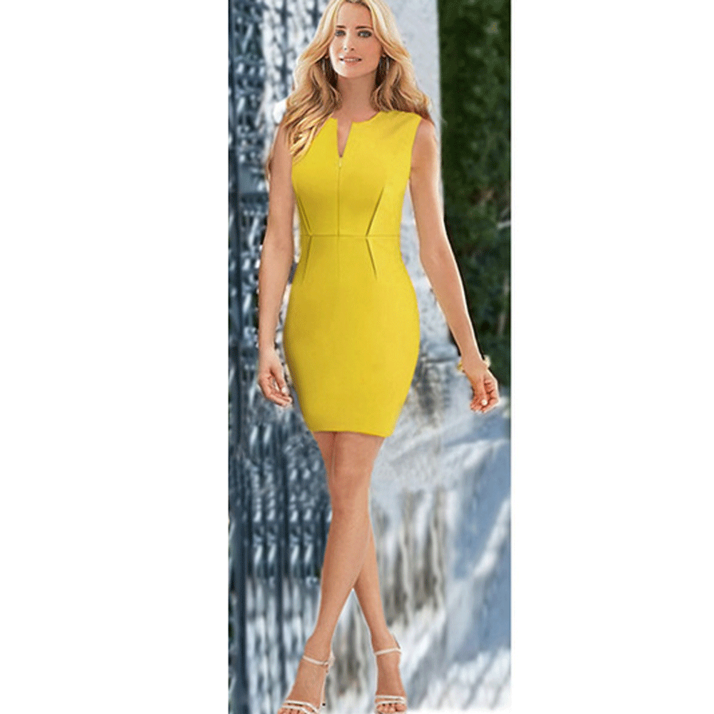 Clemonte Bodycon Dress- Yellow