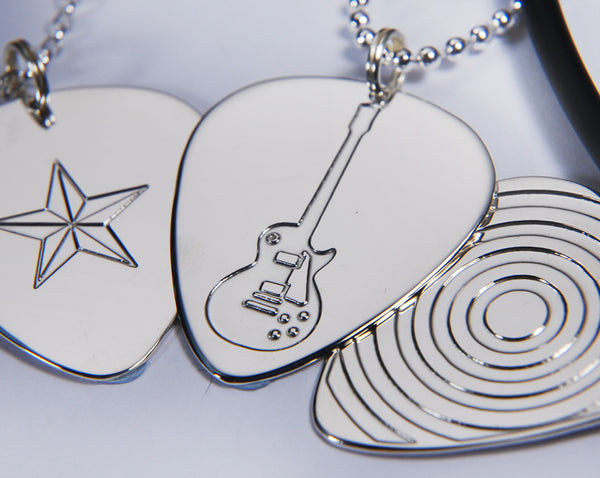 Silver Guitar Pick Pendants | Silver Picks