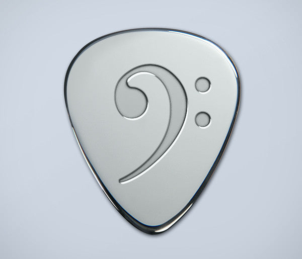 Bass Clef Silver Plectrum