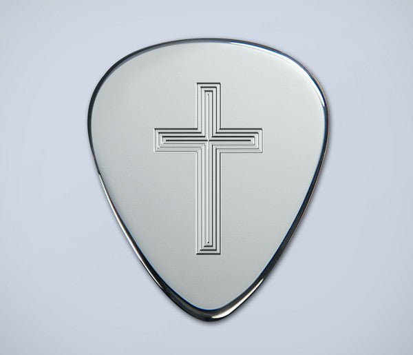 Engraved Cross Silver Plectrum